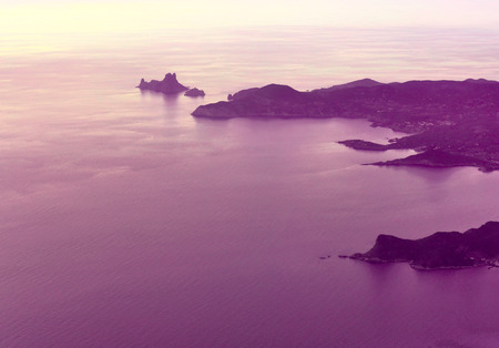 high angle: View to Ibiza Iceland and Es Vedra, high angle view or panorama.