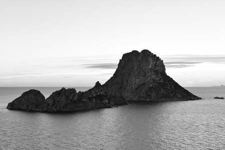 vedra: Es Vedra after the sunset, black and white toned image at the mystic rock of Es Vedra, Ibiza Iceland.