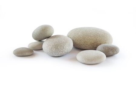 Pebbles, isolated on white background.