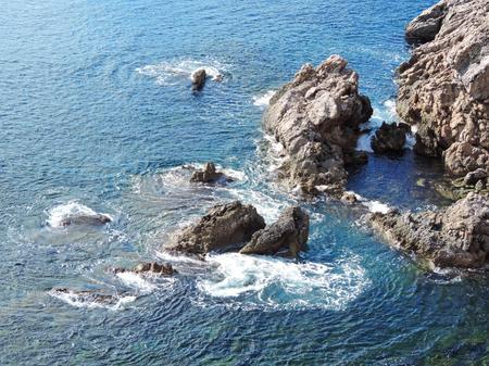 stormy sea: Cliff coast scene with stormy sea