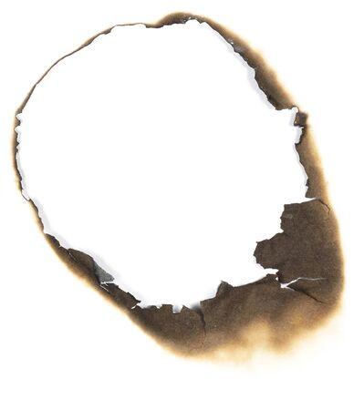 quemado: Fuego quemó agujero en papel, elemento de diseño