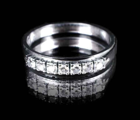 and brilliant: Brilliant ring or diamond ring, isolated on black Stock Photo