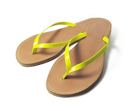 flip flop: Flip flop shoes, isolated on white background. Summer wear or beachwear.