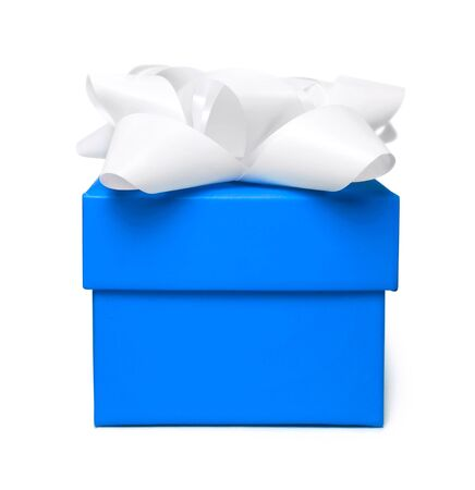 blue gift box: Blue gift box with white bow, isolated on white. Stock Photo