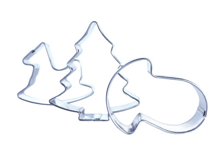 cutters: Christmas cookie cutters, isolated on white background
