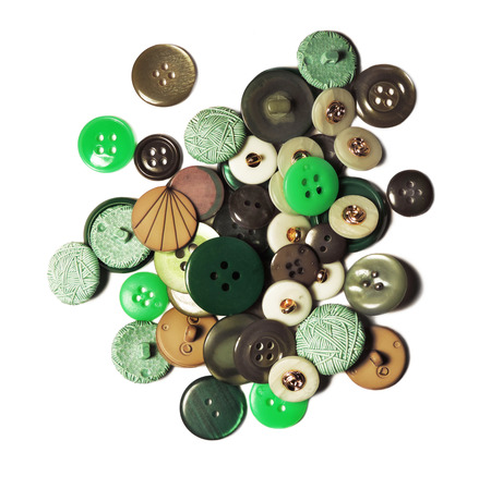 sewing buttons: Sewing buttons, heap of vintage buttons isolated on white background.