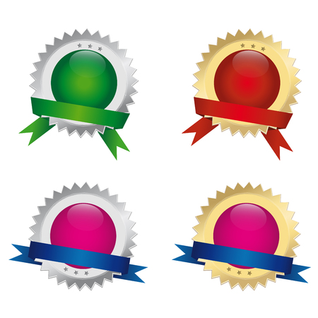 Set of different seals or award.