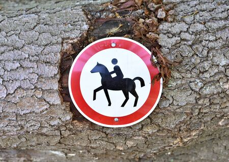 trespassing: No trespassing, horseriding sign. Stock Photo