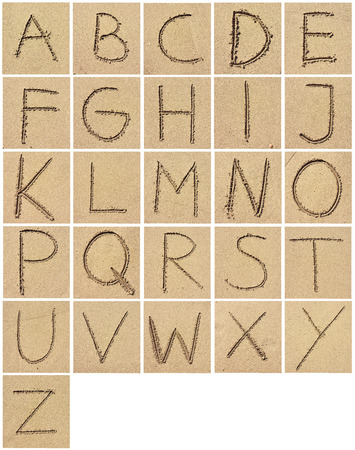 c r t: Alphabet drawing or writing in the sand. Arrangement of letters in the sand.