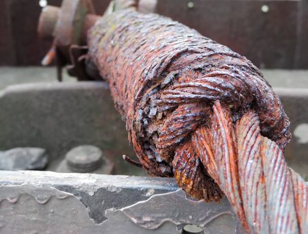 rusty steel cable, bad condition Фото со стока