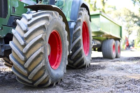 Tractor wheels with selective focus. Stock Photo