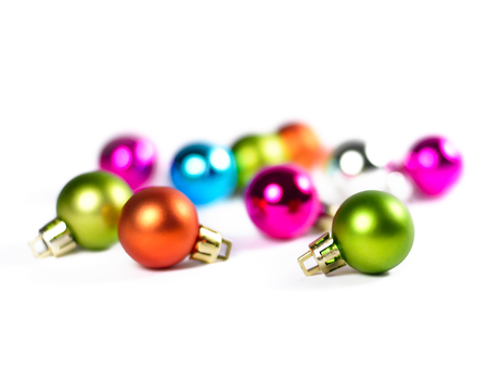 chrstmas: Chrstmas tree balls with focus on the foreground. Multicolored christmas balls.