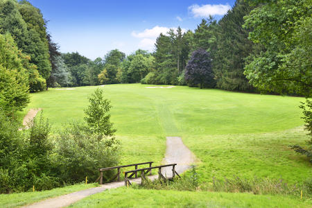 nature backgrounds: Idyllic colf course with wooden bridge. Summer scene with green meadow, forest and blue sky.