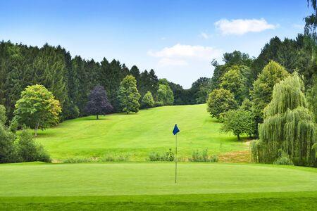 Golf idyllique avec forêt et putting green avec drapeau. Paysage d'été, parc.