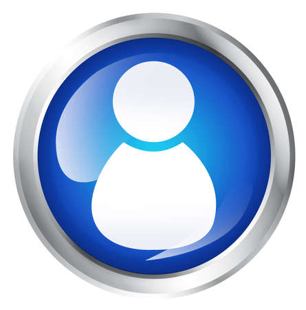 person icon: Blue icon, isolated on white. Glossy blue icon with admin symbol. Service icon.