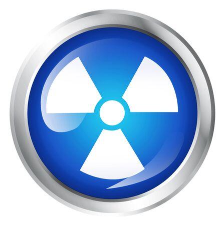 atomic symbol: Blue icon, isolated on white. Glossy blue icon with atomic or Radiocative symbol. Service icon.