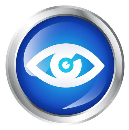 eye service: Blue icon, isolated on white. Glossy blue icon with eye symbol. Service icon.