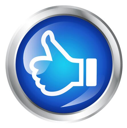 Glossy icon or button with thumbs up symbol. Good choice sign. Stock Photo