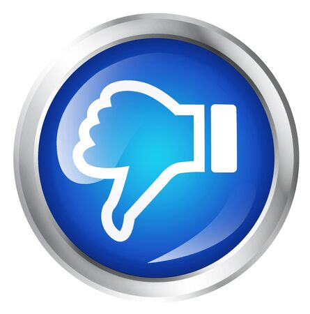 thumbs down: Glossy icon or button with thumbs down symbol. Bad choice sign.