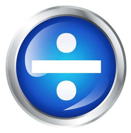 Glossy icon or button with division symbol. mathematical sign. Stock Photo