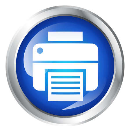 ink jet: Glossy icon or button with printer symbol. Ink Jet sign.