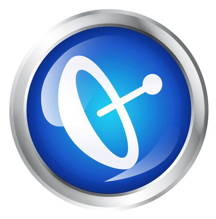 globally: Glossy icon or button with satellite dish symbol. Stock Photo