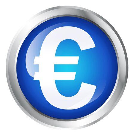 european euro: Glossy icon or button with Euro symbol. European currency symbol.