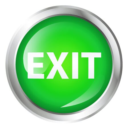 exit button: Glossy icon or button with exit text. Exit symbol. Stock Photo