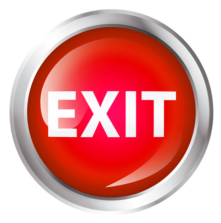 exit: Glossy icon or button with exit text. Exit symbol. Stock Photo