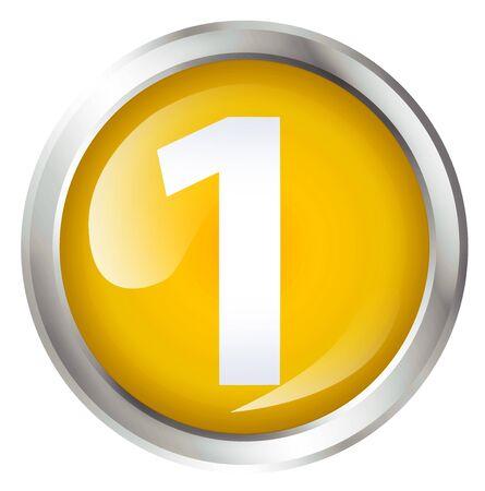 primer lugar: El icono brillante botón o con la concesión o el primer símbolo de lugar. Foto de archivo