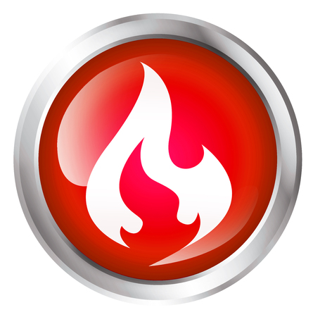 Glossy icon or button with flame symbol. Stock Photo