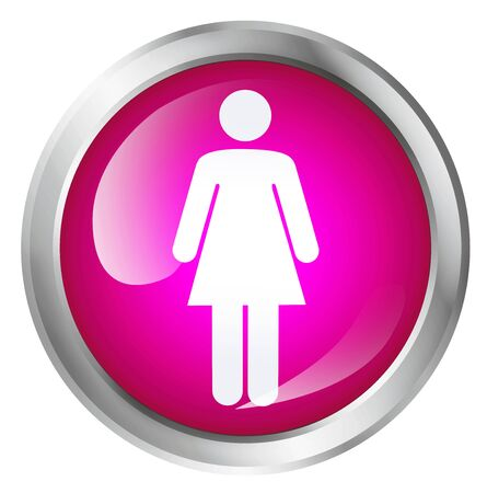 female symbol: Glossy icon or button with female symbol. Girls only.