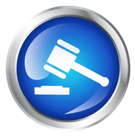 legally: Blank, glossy icon or button with justice symbol. Stock Photo