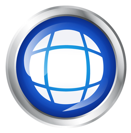 globally: Blank, glossy icon or button with world symbol.