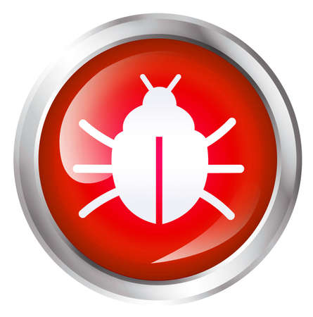 Computer bug icon, isolated on white