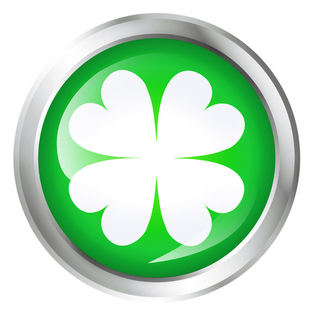 Glossy icon or button with four leaf clover or luck symbol.