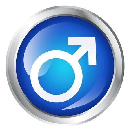 one man only: Glossy icon or button with male gender symbol.