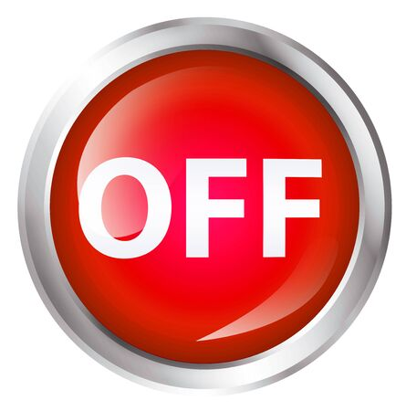 out of order: Glossy icon or button with OFF text. Off symbol. Stock Photo