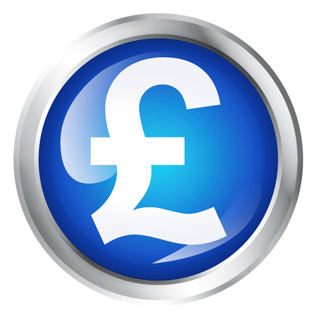 Glossy icon or button with pound sterling symbol. Stock Photo