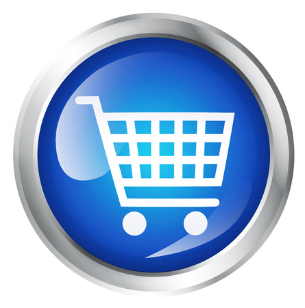 comercial: Glossy icon or button with shopping cart symbol.