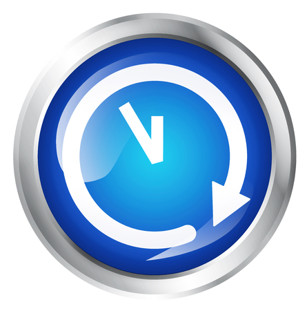glossy button: Glossy icon or button with clock or time symbol.