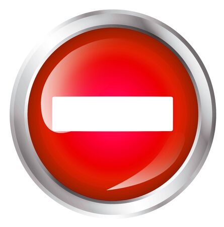 do not enter: Glossy icon or button with minus symbol. Do not enter.