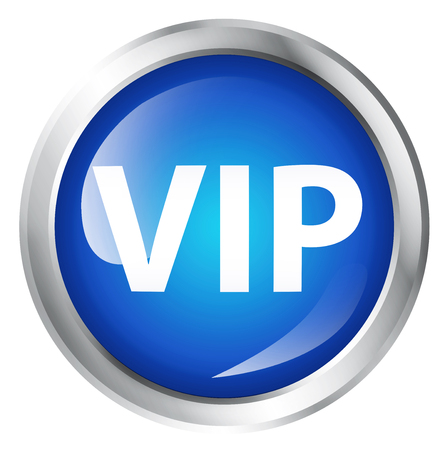 Glossy icon or button with VIP symbol. Stock Photo