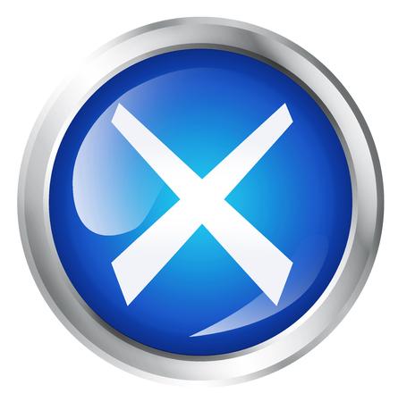 prohibido el paso: El icono brillante o el botón con el símbolo de la cruz.