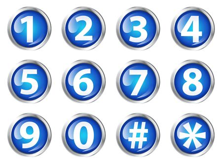 six objects: Glossy icons or buttons with numbers. Stock Photo