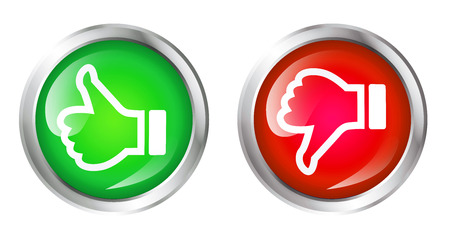 Glossy icon or button with thumbs up and thumbs down symbol. Good choice and bad choice sign.