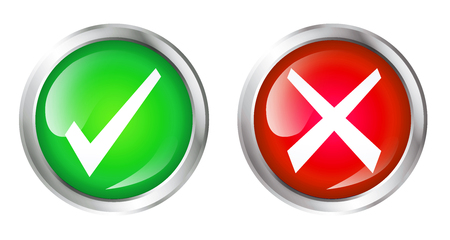 Glossy icon set or buttons with cross symbol and checkmark symbol.