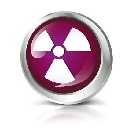 atomic symbol: Glossy icon or button with atomic or toxic symbol.