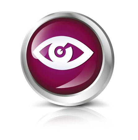 spying: Glossy icon or button with eye or search symbol. Stock Photo