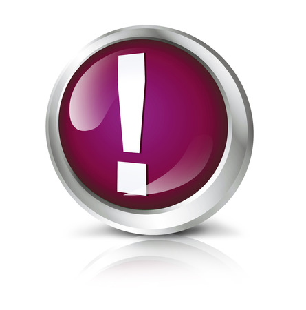 be careful: Glossy icon or button with exclamation point symbol.
